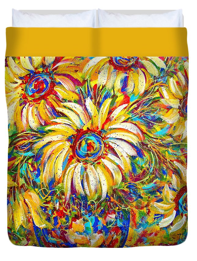 Flowers Duvet Cover featuring the painting Sunflower Burst by Natalie Holland