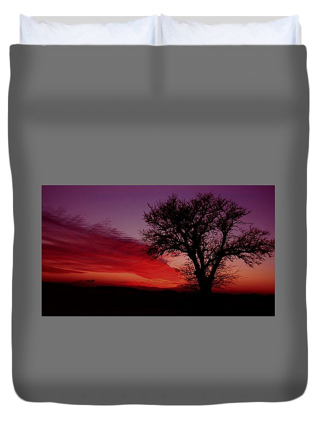 Sunset Duvet Cover featuring the photograph 022107-1 by Mike Davis