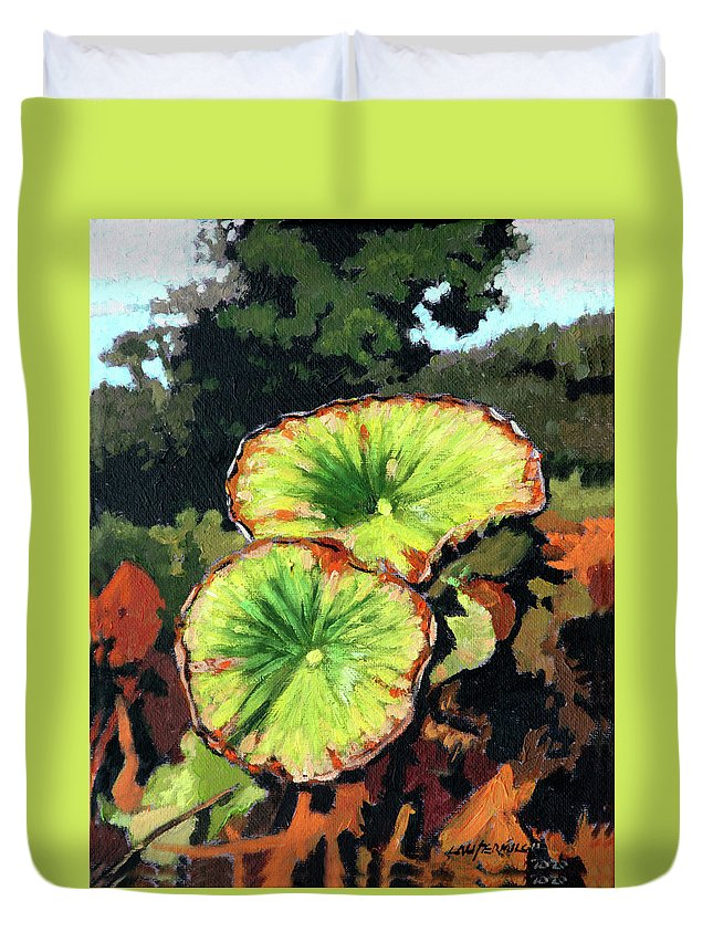 Lotus Leaves Duvet Cover featuring the painting Autumn Lotus Leaves by John Lautermilch