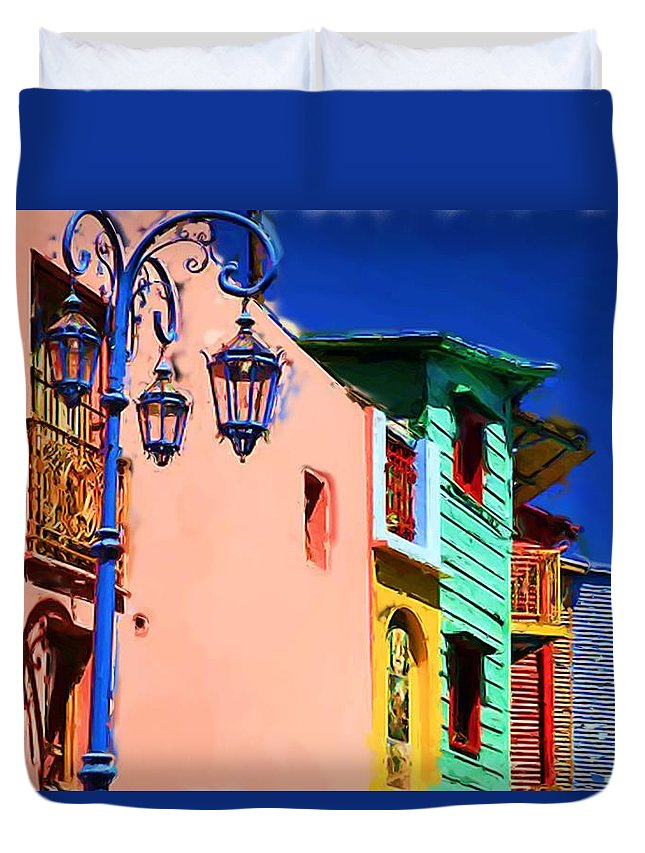 Buenos Aires Duvet Cover featuring the mixed media Buenos Aires by Asbjorn Lonvig