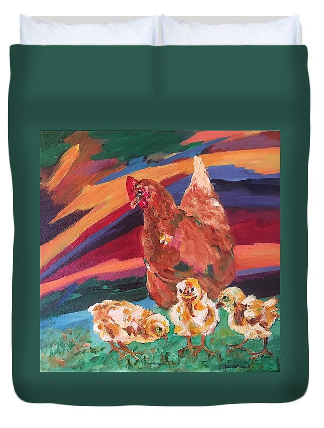 Chicks And Their Big Brown Mom Duvet Cover featuring the painting Chicken Little by Naomi Gerrard