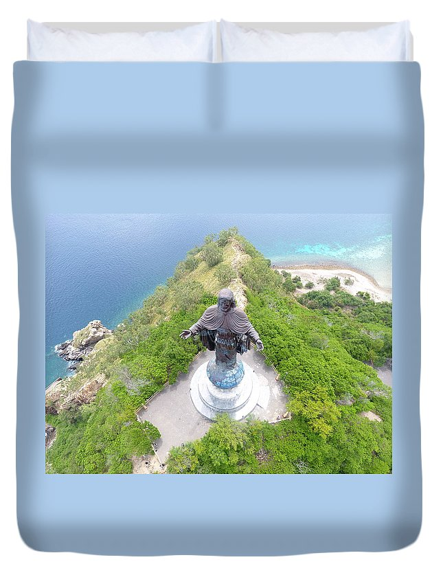 Travel Duvet Cover featuring the photograph Cristo Rei of Dili statue of Jesus by Brthrjhn2099