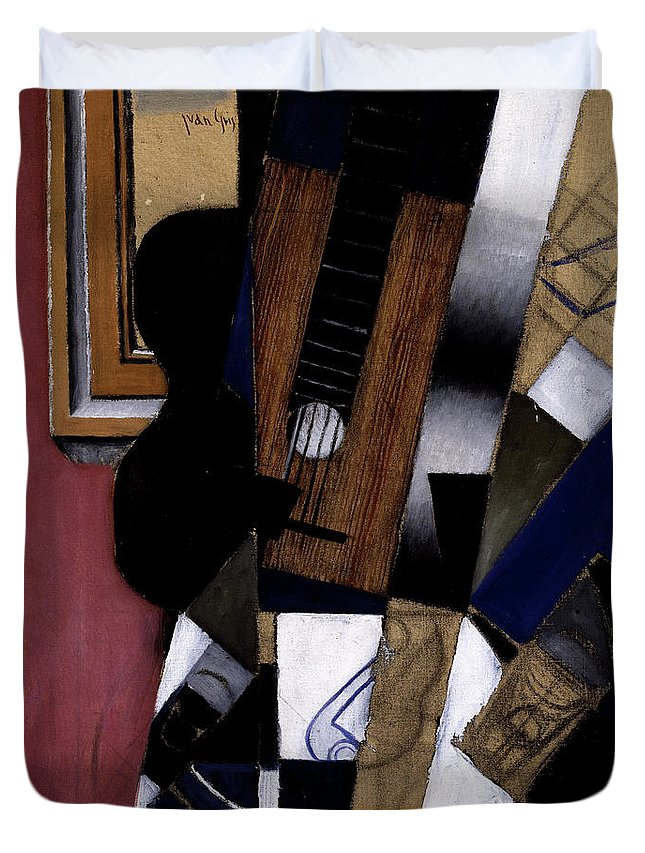 Juan Gris Duvet Cover featuring the painting Guitar And Pipe, 1913 by Juan Gris