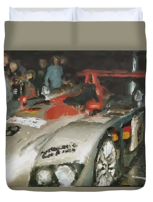 Le Mans Duvet Cover featuring the mixed media Le Mans by Asbjorn Lonvig