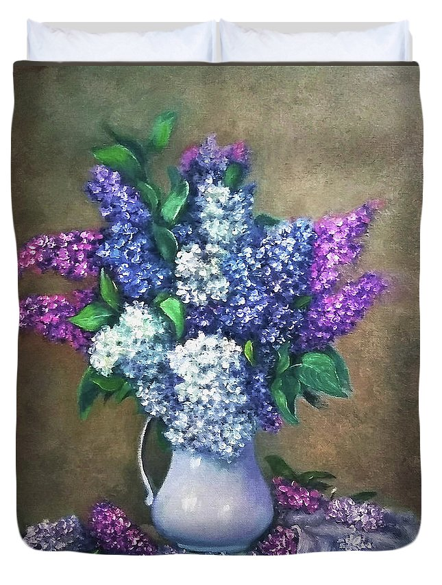 Lilac Duvet Cover featuring the painting Lilac flowers by Natalja Picugina