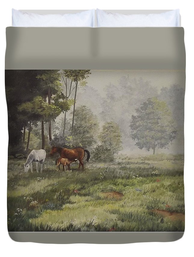 Landscape Duvet Cover featuring the painting Misty Morning Grazing by Wanda Dansereau