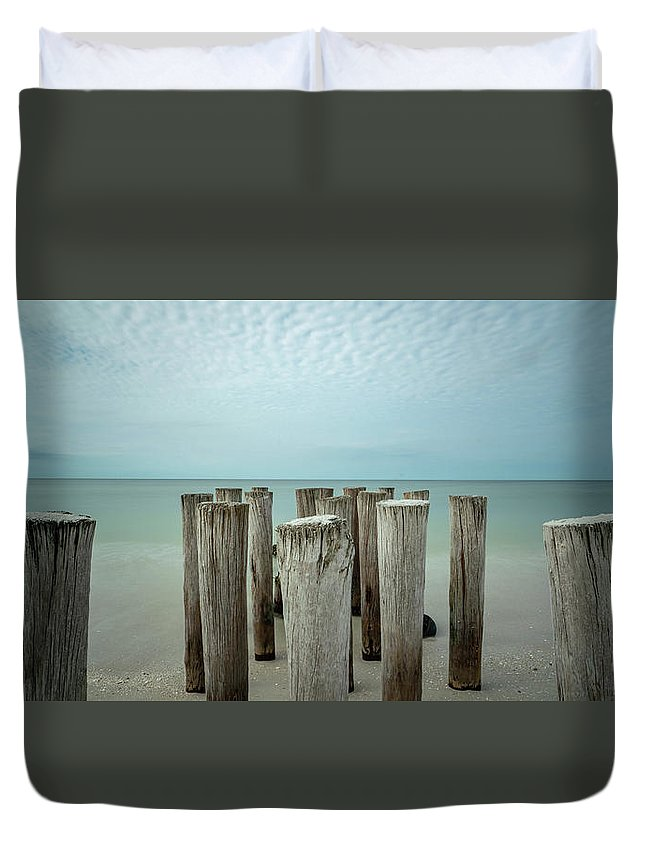 Naples Florida 2021 Duvet Cover featuring the photograph Naples Pilings 2021 by Joey Waves