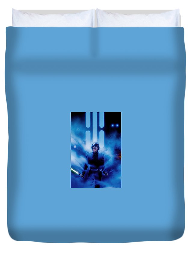 Return Of The Jedi 1983 Duvet Cover featuring the digital art Return Of The Jedi 1983 by Geek N Rock