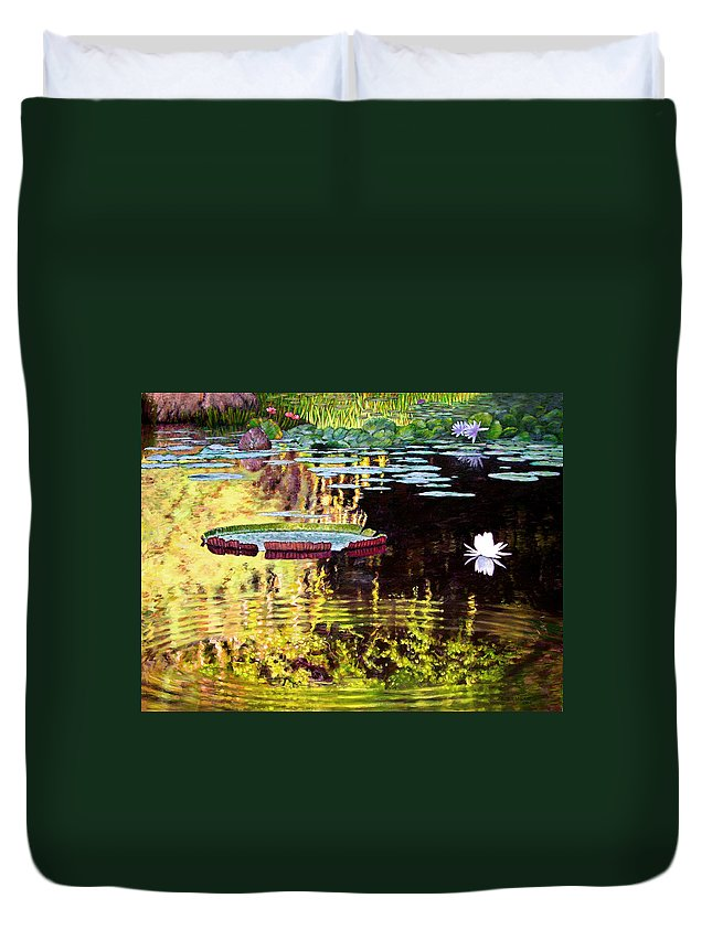 Garden Pond Duvet Cover featuring the painting Ripples On A Quiet Pond by John Lautermilch