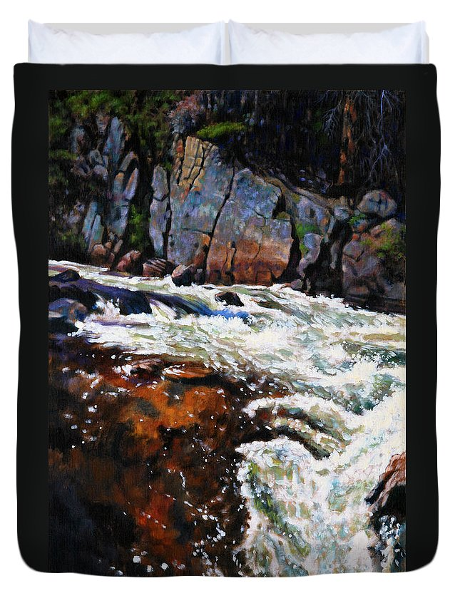 Mountain Stream Duvet Cover featuring the painting Rushing Waters Colorado by John Lautermilch
