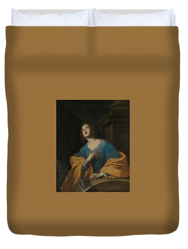 17th Century Painters Duvet Cover featuring the painting Saint Catherine Of Alexandria by Workshop of Bernardo Cavallino