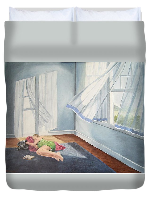 Curtains Blowing Duvet Cover featuring the painting Summer Napping by Wanda Dansereau