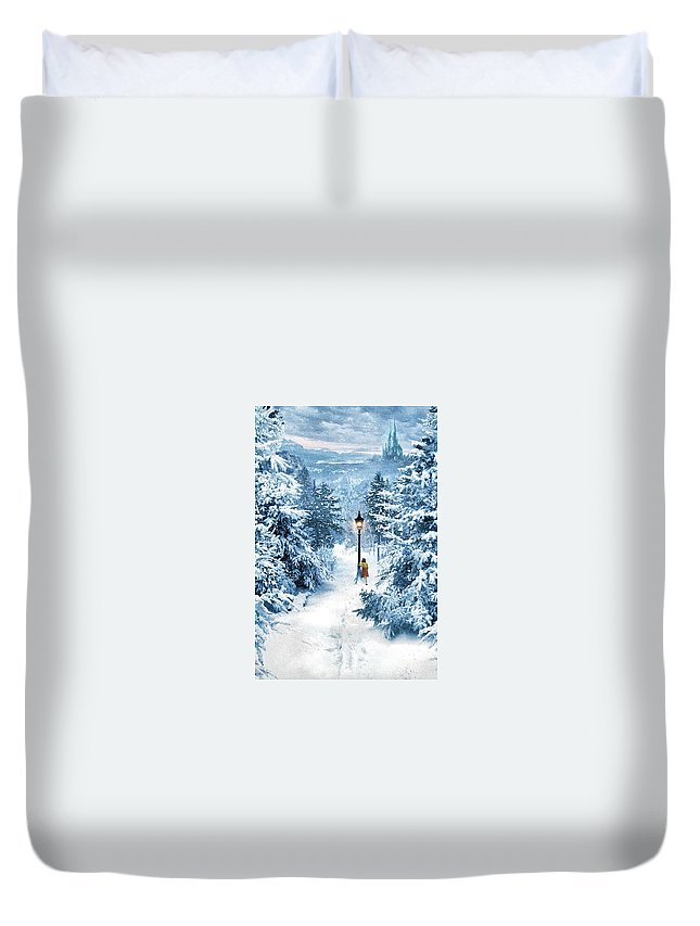 The Chronicles Of Narnia- The Lion Duvet Cover featuring the digital art The Chronicles Of Narnia- The Lion, The Witch And The Wardrobe by Geek N Rock