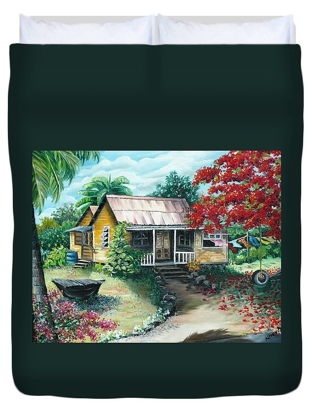 Landscape Painting Caribbean Painting Tropical Painting Island House Painting Poinciana Flamboyant Tree Painting Trinidad And Tobago Painting Duvet Cover featuring the painting Trinidad Life by Karin Dawn Kelshall- Best
