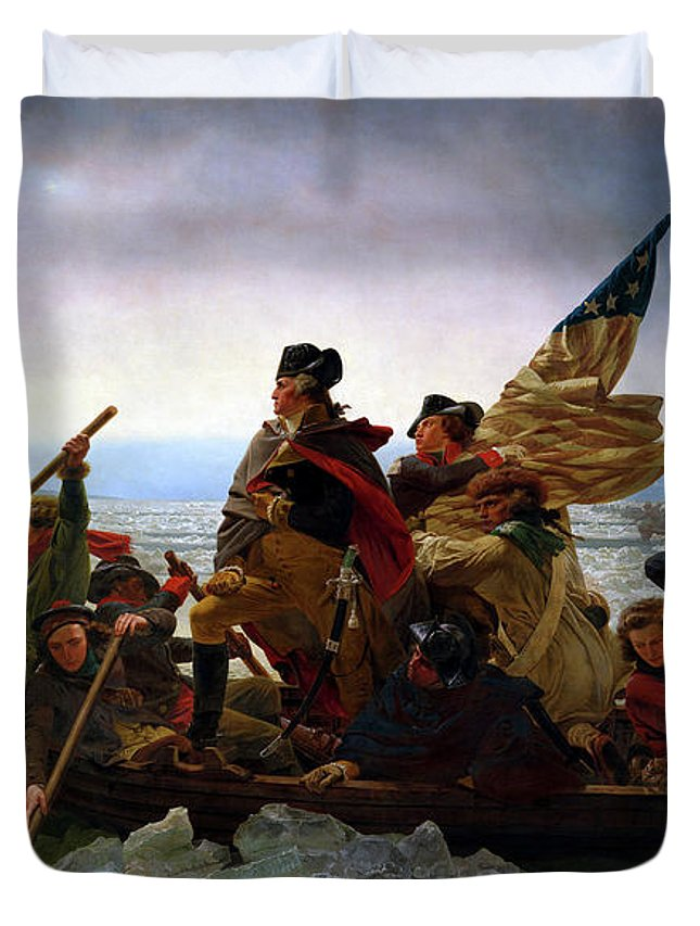George Washington Duvet Cover featuring the painting Washington Crossing the Delaware by Emanuel Leutze