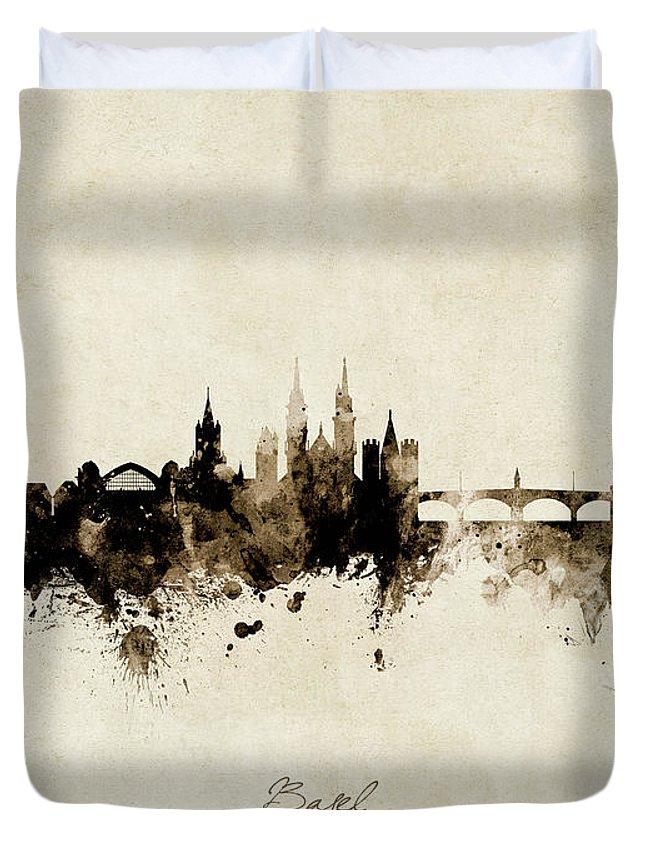 Basel Duvet Cover featuring the digital art Basel Switzerland Skyline by Michael Tompsett