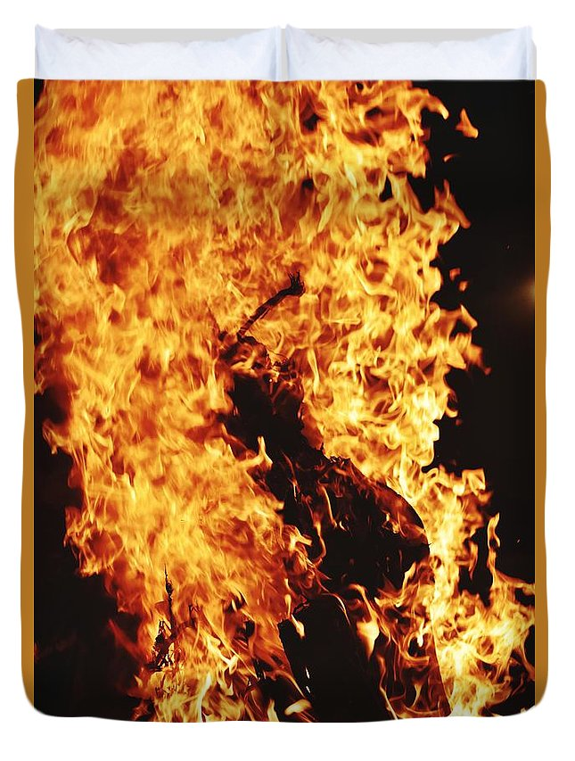 Campfire Duvet Cover featuring the photograph Closeup of Fire at time of festival by Ravindra Kumar