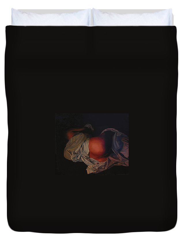 Sexual Duvet Cover featuring the painting 12 30 A M by Thu Nguyen