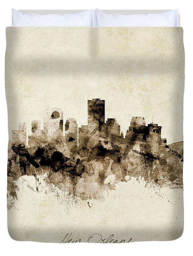 New Orleans Duvet Cover featuring the digital art New Orleans Louisiana Skyline by Michael Tompsett