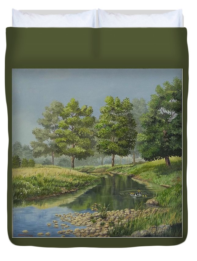 The Ky. Landscape Duvet Cover featuring the painting The First Swim by Wanda Dansereau