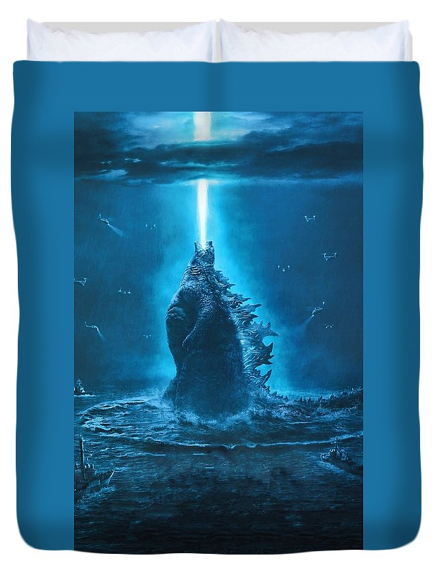 Godzilla King Of The Monsters Duvet Cover featuring the digital art Godzilla King Of The Monsters by Geek N Rock
