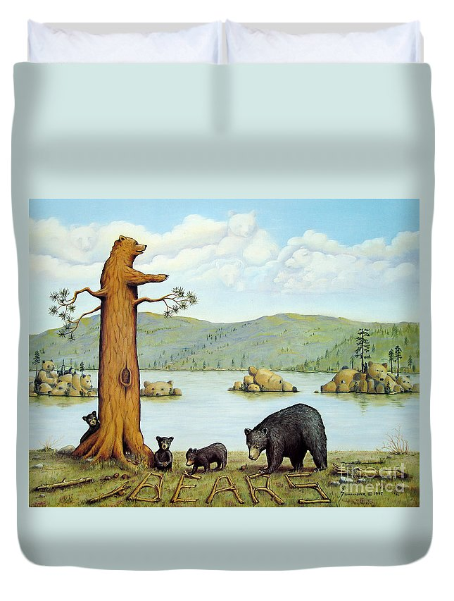 Bears Duvet Cover featuring the painting 27 Bears by Jerome Stumphauzer