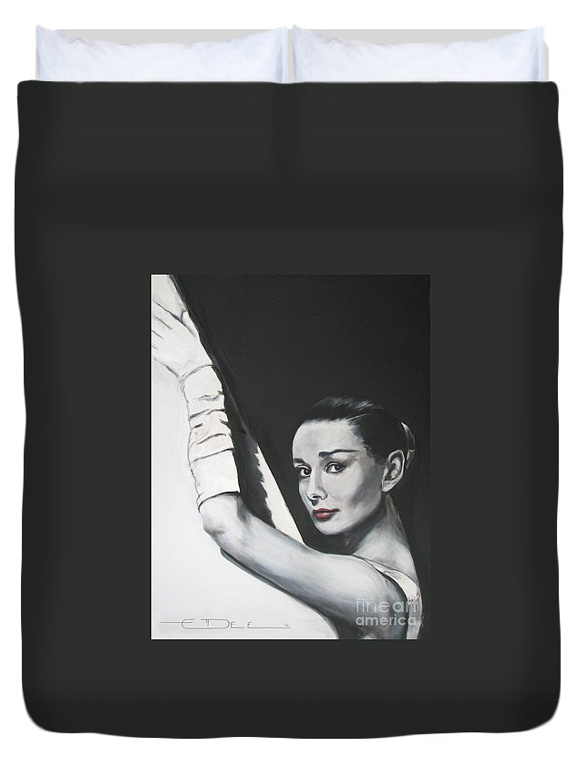 Audrey Hepburn Duvet Cover featuring the painting Audrey Hepburn by Eric Dee