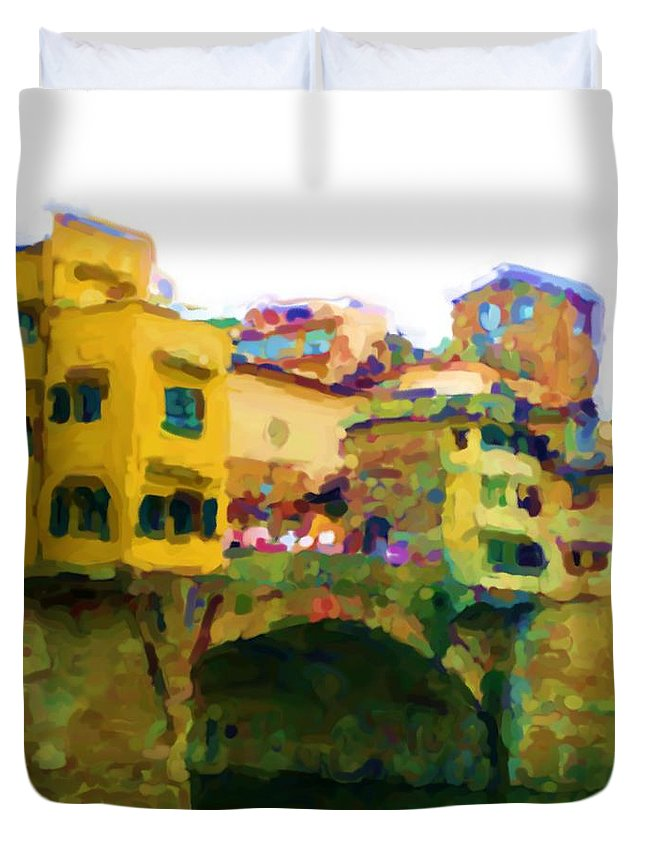 Florence Duvet Cover featuring the mixed media Florence by Asbjorn Lonvig