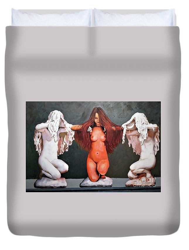 Women Duvet Cover featuring the painting 3 In One by Jose Manuel Abraham