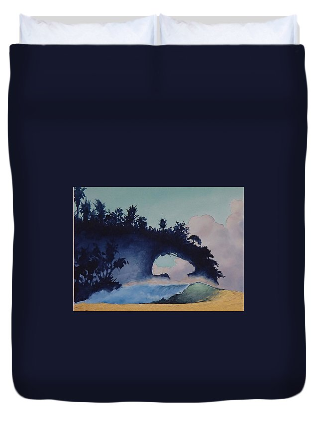 Ocean Duvet Cover featuring the painting Untitled 4 by Philip Fleischer