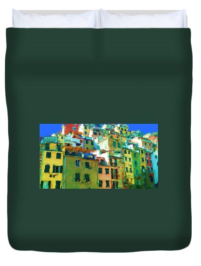 Cinque Terre Duvet Cover featuring the mixed media Cinque Terre by Asbjorn Lonvig