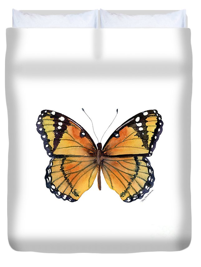 Viceroy Duvet Cover featuring the painting 76 Viceroy Butterfly by Amy Kirkpatrick