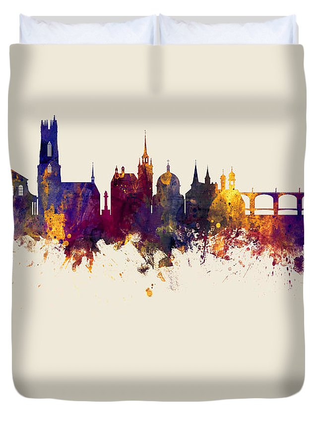 Fribourg Duvet Cover featuring the digital art Fribourg Switzerland Skyline by Michael Tompsett