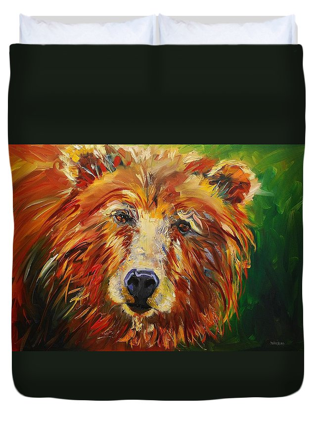 Bear Duvet Cover featuring the painting A Bunch Of Bear by Diane Whitehead