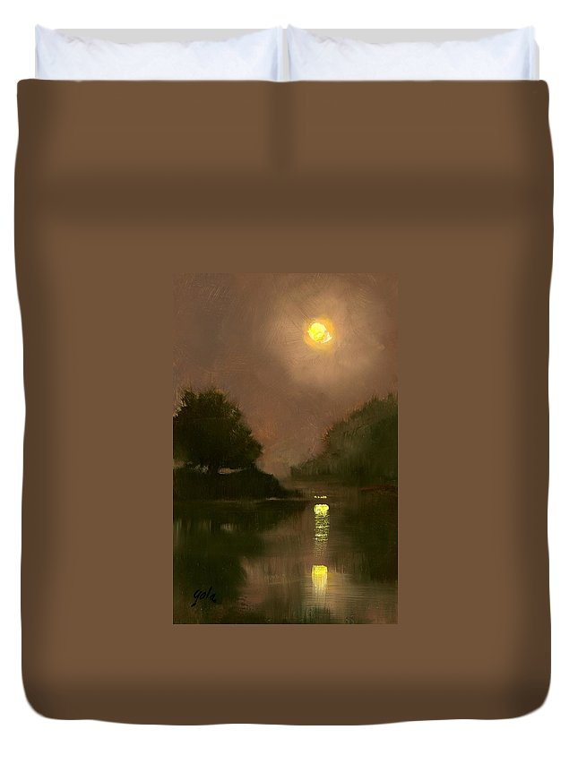 Miniatures Duvet Cover featuring the painting A Clear Evening by Jim Gola
