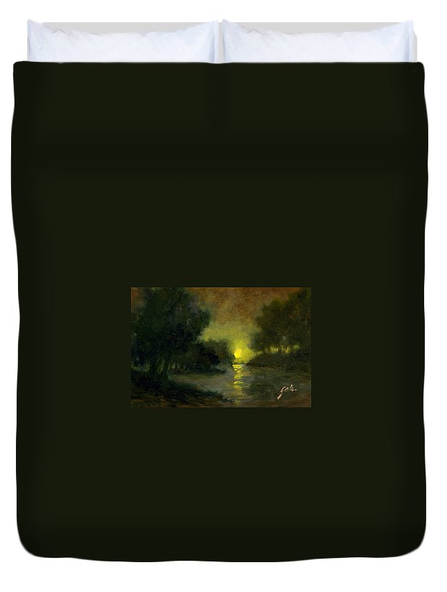 Miniaturesoil Paintings Duvet Cover featuring the painting A Dusky Evening by Jim Gola