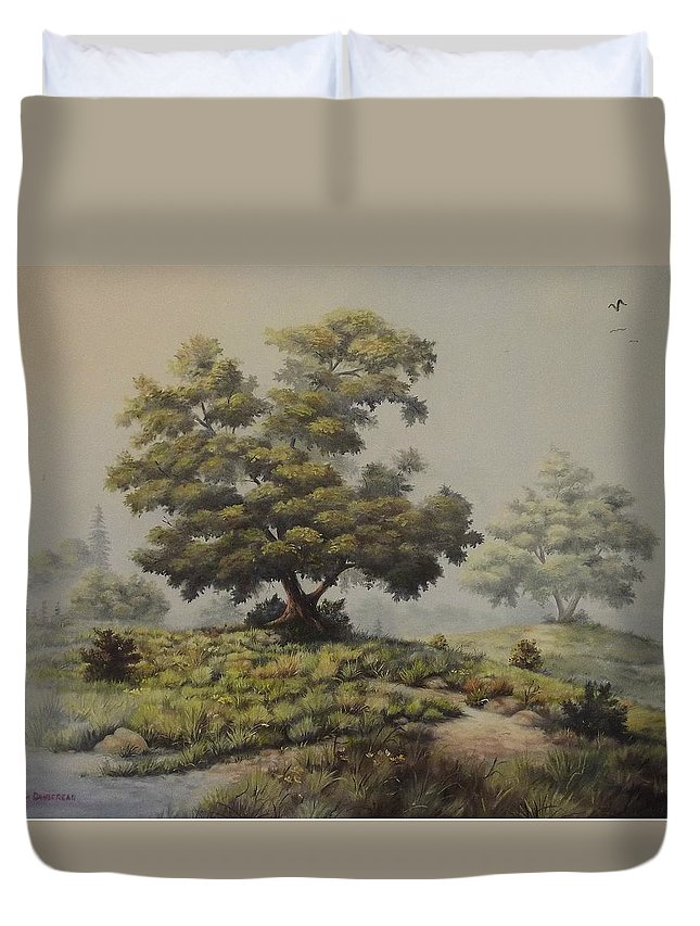 Misty Morning Duvet Cover featuring the painting A Foggy Texas Morning by Wanda Dansereau
