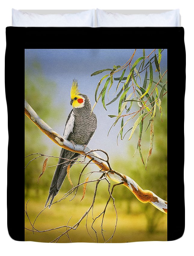 Bird Duvet Cover featuring the painting A Friendly Face - Cockatiel by Frances McMahon
