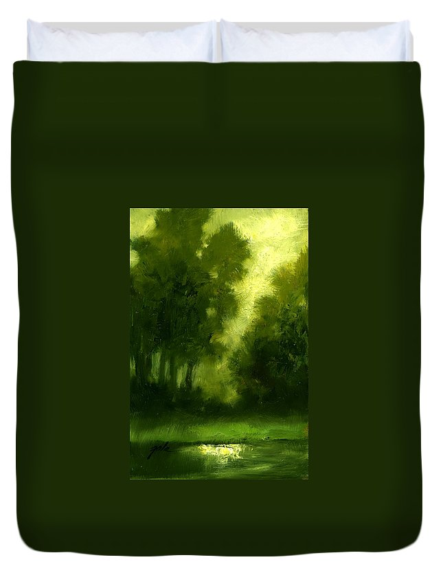 Miniature Oil Paintings Duvet Cover featuring the painting A Hazy Day by Jim Gola