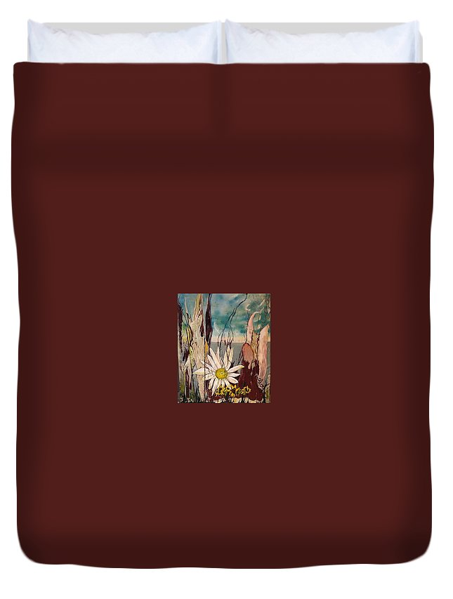 Trees Duvet Cover featuring the painting A Moment by Peggy Blood