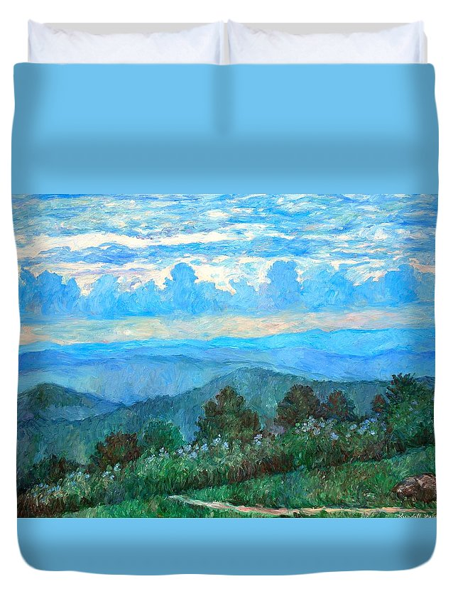 Landscape Duvet Cover featuring the painting A Path to Rock Castle Gorge in the Evening by Kendall Kessler