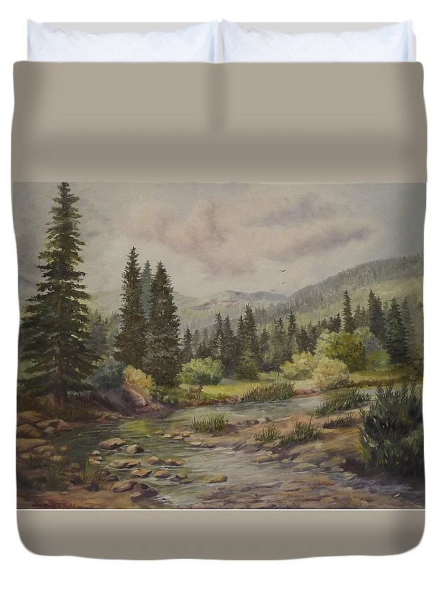 Landscape Duvet Cover featuring the painting A Rockey Mountain Stream by Wanda Dansereau