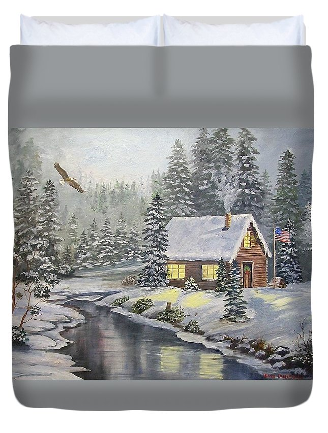 Christmas Duvet Cover featuring the painting A Snowey Mountain Christmas by Wanda Dansereau