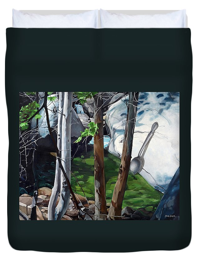 Landscape Duvet Cover featuring the painting A Taste of Nature by Snake Jagger
