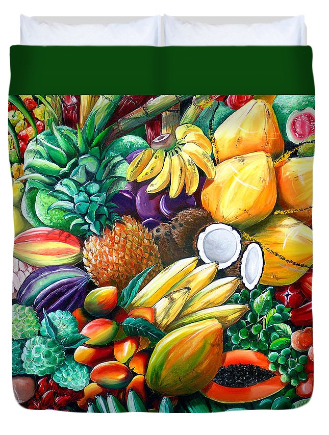 Caribbean Fruit Painting Tropical Fruit Painting Caribbean Pineapple Mangoes Bananas Coconut Watermelon Tropical Fruit Painting Duvet Cover featuring the painting A Taste Of The Islands by Karin Dawn Kelshall- Best