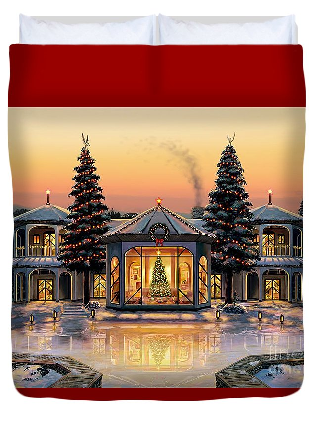 Christmas Duvet Cover featuring the painting A Warm Home For The Holidays by Stu Shepherd
