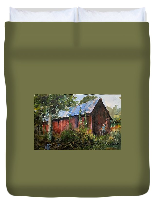 Rural. Barn Duvet Cover featuring the painting Abandoned at Aum Creek by Charles Rowland