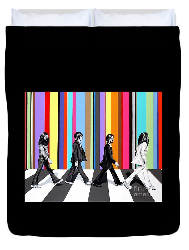 The Beatles Duvet Cover featuring the painting Abbey Road Technicolor by Amy Belonio
