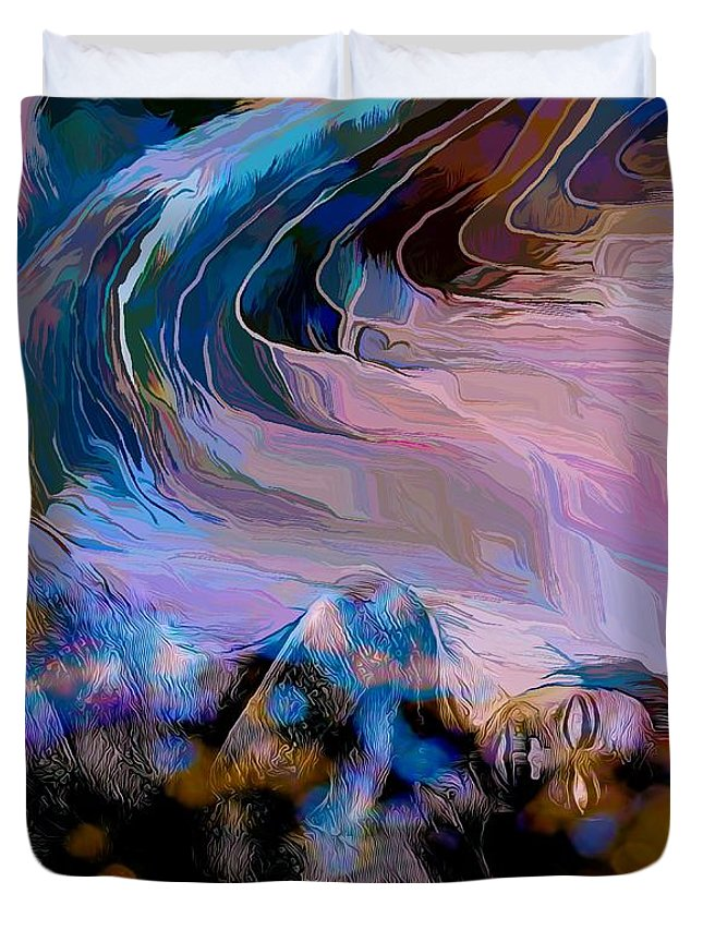 Modern Abstract Art Duvet Cover featuring the mixed media Abstract Island Girl Slumbering On The Beach by Joan Stratton