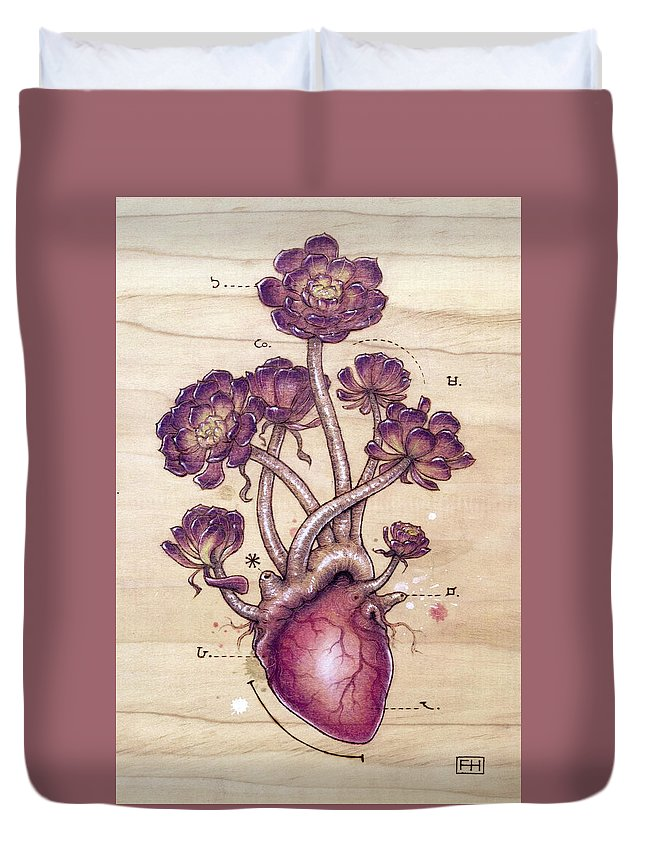 Pyrography Duvet Cover featuring the pyrography Aeonium Heart by Fay Helfer